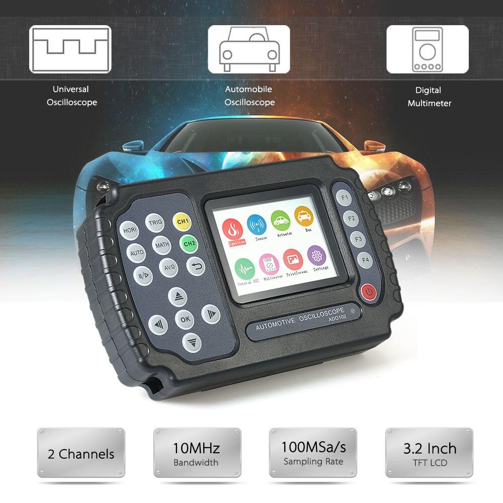 купить Automotive Oscilloscope Multimeter Ch2 4K 10MHz 100MSa/s Automotive Diagnostic Tool Data Hold Circuit Tester Car Motorcycle DSO по цене 19624.08 рублей