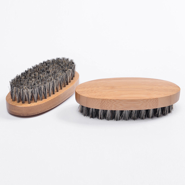 8cm Men Boar Hair Bristle Beard Brush Shaving Comb Face Massage Handmade Yellow Mustache Brush Beauty Care Drop Shipping  1
