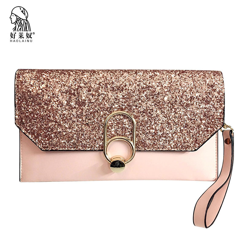 New Fashion Women Envelope Clutch Bag Leather Women Crossbody Bags Sequined Chains Messenger Bag Female Ladies Clutches 2018