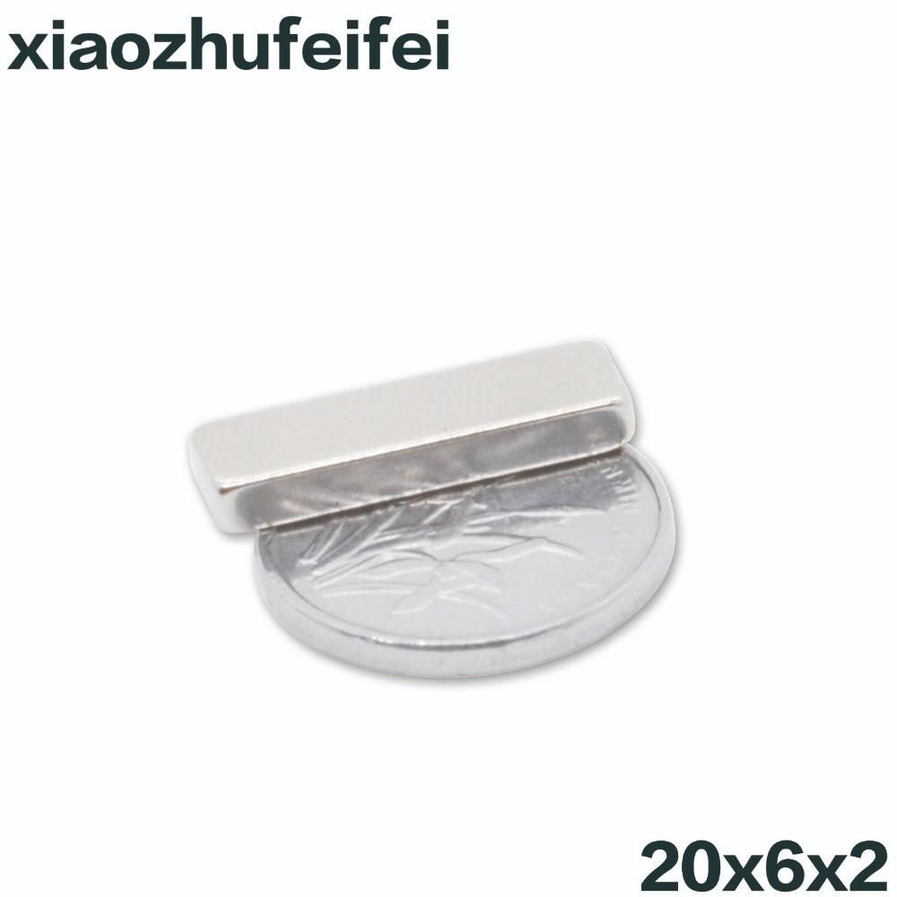 10pcs 20x6x2 Powerful Strong Rare Earth Block NdFeB Magnet 20mm x 6mm x 2mm Neodymium N35 Magnets 20*6*2 10050044w diy rectangular ndfeb magnets silver 30 x 20 x 5mm 2 pcs