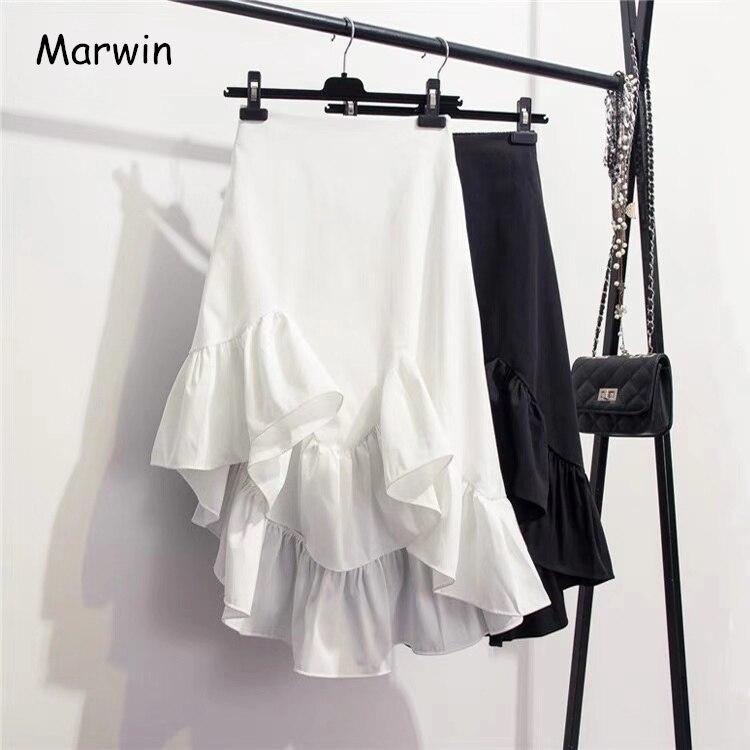 Marwin 2019 nouveauté printemps été solide irrégulière volants asymétriques jupes haute rue Style coréen Empire femmes jupes