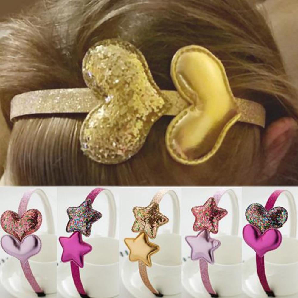 New Children's Headband Golden Gifts 1PC Party Kids Pink Hairband Star Girls Silver Heart Sequin PU Handmade Hair Accessories