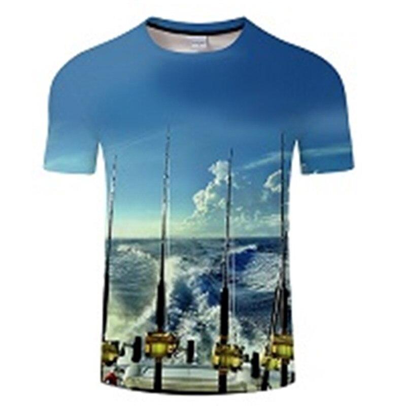 Новая футболка для рыбалки, стильная повседневная футболка с цифровым 3D принтом рыбы, мужская и женская футболка, летняя футболка с коротким рукавом и круглым вырезом, Топы И Футболки S-6XL - Цвет: TXKH449
