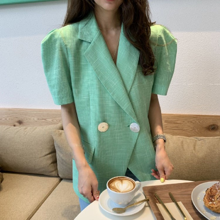 Fashion 2019 Summer Korea Women Thin Blazer Double-Breasted  Notched Collar Casual Work Coat Puff Sleeve Office Suits