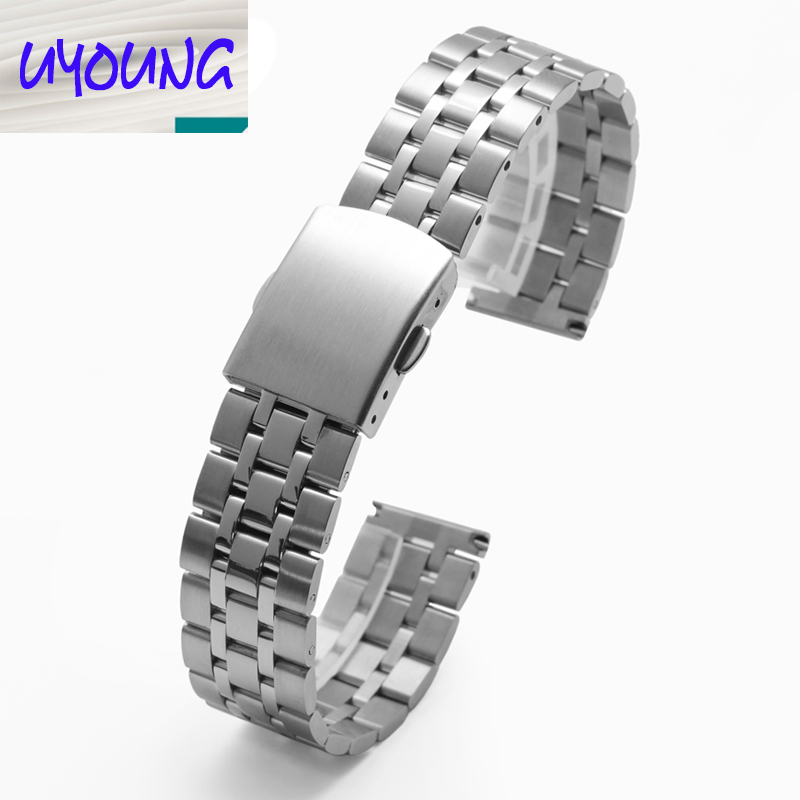 12mm 14mm 16mm 18mm 20mm Stainless Steel Solid Link Watch Band Strap Bracelet Straight End Gold Silver Band
