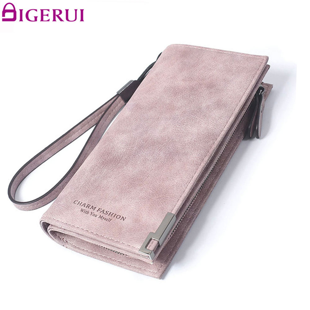 купить DIGERUI Fashion Purse New Zipper Long Dull Polish Retro PU Leather Wallet Clutch Coin Purse Ladies SC0517 онлайн
