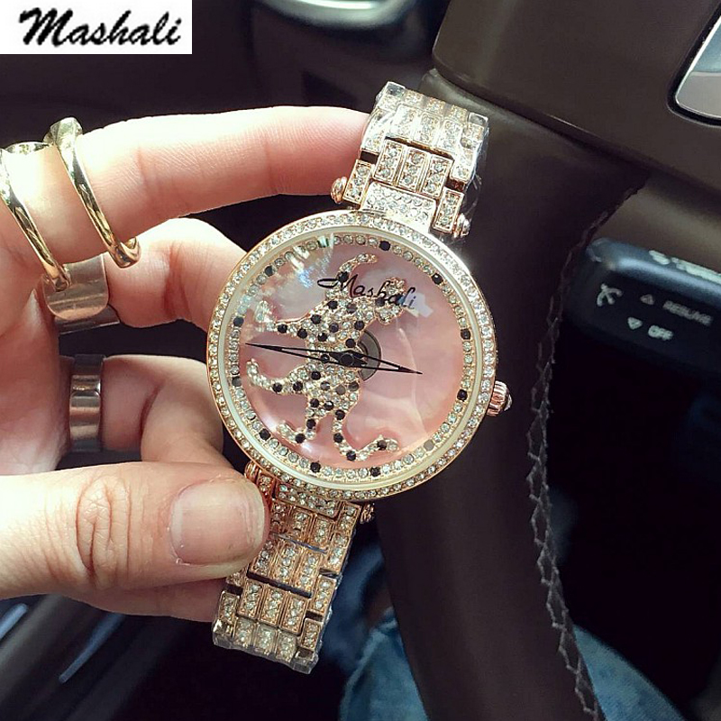 Mashali Popular Fashion Women Watch Leopard dial Rotation Steel Watches Female Luxury  wristwatches Ladies bracelet quartz watchMashali Popular Fashion Women Watch Leopard dial Rotation Steel Watches Female Luxury  wristwatches Ladies bracelet quartz watch