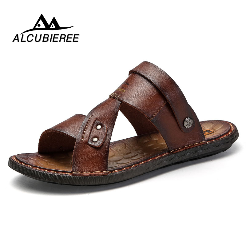 ALCUBIEREE Men's Casual Shoes Leather Breathable Beach Sandals Male Lightweight Antiskid Outdoor Slipper Summer Zapatos Hombre