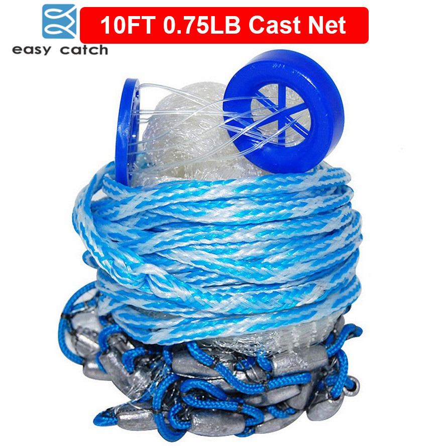 Easy Catch 10 Feet Radius 0.75LB Fishing Cast Net American Heavy Duty Real Lead Weights Hand Throwing Trap Net With Bucket