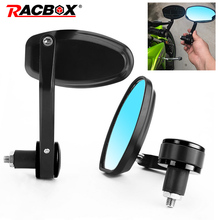 1Pair Universal 7/8 Round Blue Bar End Rear Mirrors Moto Motorcycle Motorbike Scooters Rearview Mirror Side View