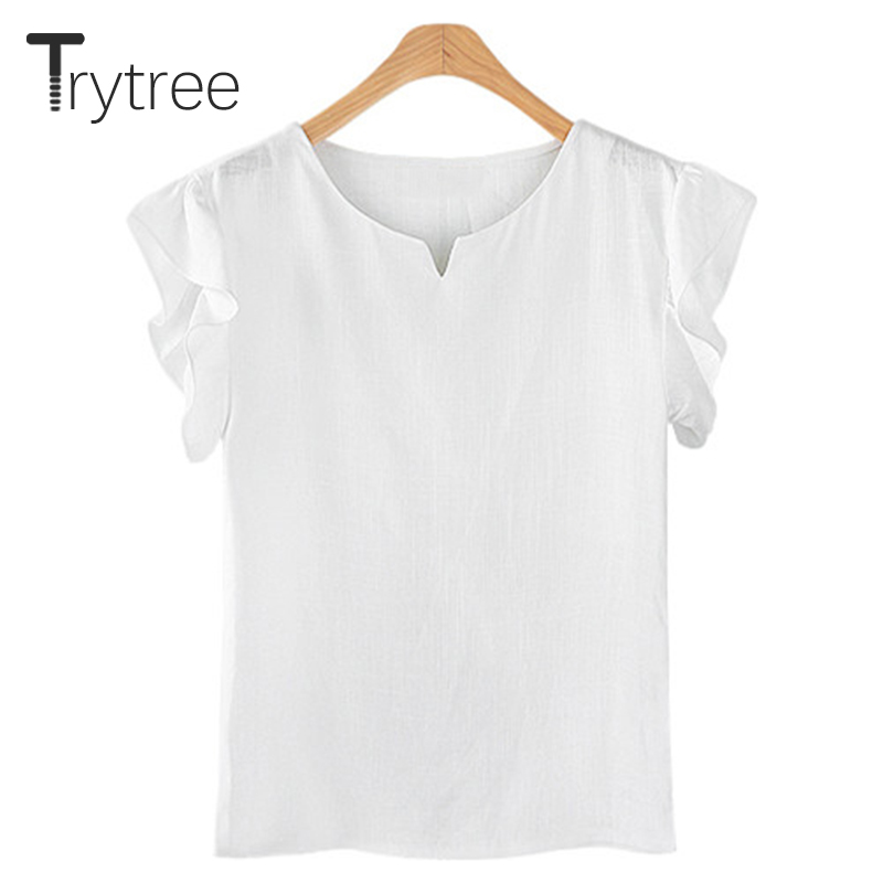 Women's Clothing Trytree 2018 Summer Women Blouse Casual Polyester Shirt Turn-down Yellow White Tops Clothes Casual Plus Size Solid Linen Shirts Moderate Price
