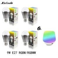Mi Light Led Lamp E27 9W RGBW/RGBWW Led bulb+IBX1 RF Remote Wifi Led Spotlight light Dimmable Led light AC85 265V Free shipping