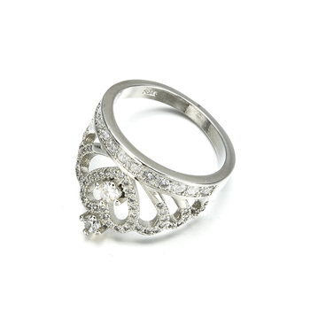 Silver Crown Shape Rhinestone Crystal Rings 4