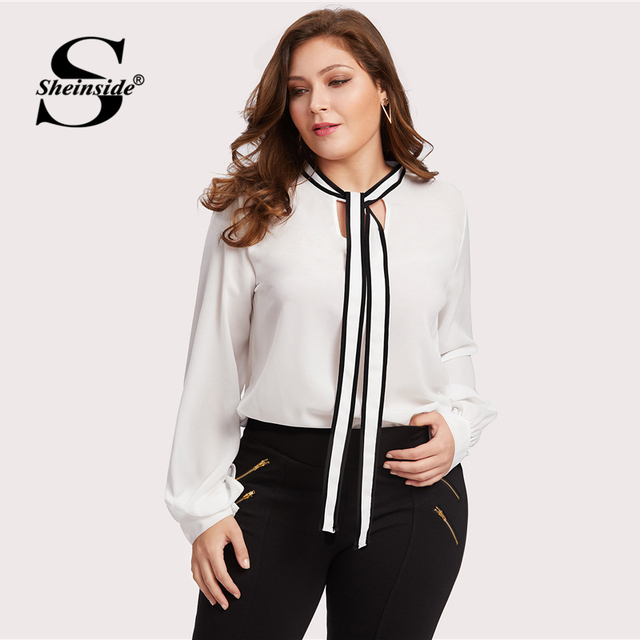 Sheinside Plus Size Chiffon White Tie Neck Ladies Top Women Long Sleeve Solid Elegant Autumn 2018 Womens Tops and Blouses 3