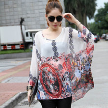 4f560373df4 Vintage print women sheer blouses ladies Batwing sleeved chiffon shirts  2016 fashion design vogue girls big size summer blusas