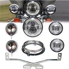 7 «дюймовый daymaker светодиодные фары Привет/Lo луч с кронштейном + 4.5» вспомогательный туман пятно Лампы для мотоциклов Chrome с корпусом ведро