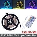 Nonwaterproof 5050 RGB LED Strip 150LEDs/5M 5050 SMD + 44Key Remote Controller RGB Led Strip Light Free Shipping