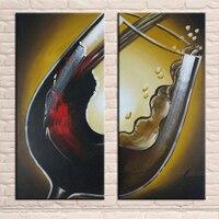 Pintados À mão Modern Retrato Da Arte Da Parede 2 Painel de Pintura A Óleo Do Grupo Na Lona Sem Moldura de Vidro de Vinho para Decoração de Bar