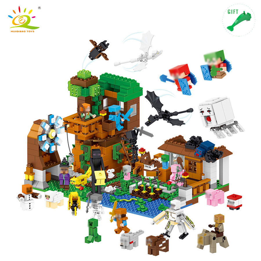 HUIQIBAO TOYS 1007pcs My World Water Castle Mini Dragons Action Figures Building Blocks Compatible Legoed Minecrafted City Toys mini world mn202