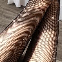 Nowa seksowna bielizna Sexy otwarte krocza kabaretki rajstopy kobiety moda błyszczące rajstopy netto kobiet szczupła siatka z kryształkami pończochy rajstopy tanie tanio WOMEN stockings NYLON spandex 80-110CM Stałe Cienkie SW06 shishangyouhuo