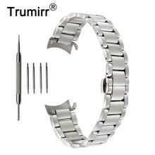 18mm 20mm 22mm Edelstahl Armband für Seiko Curved End Strap Schmetterling Schnalle Gürtel Handgelenk Armband Schwarz Gold Silber