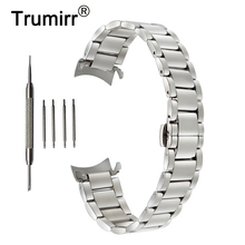 18mm 20mm 22mm Stainless Steel Watchband for Seiko Curved End Strap Butterfly Buckle Belt Wrist Bracelet Black Gold Silver