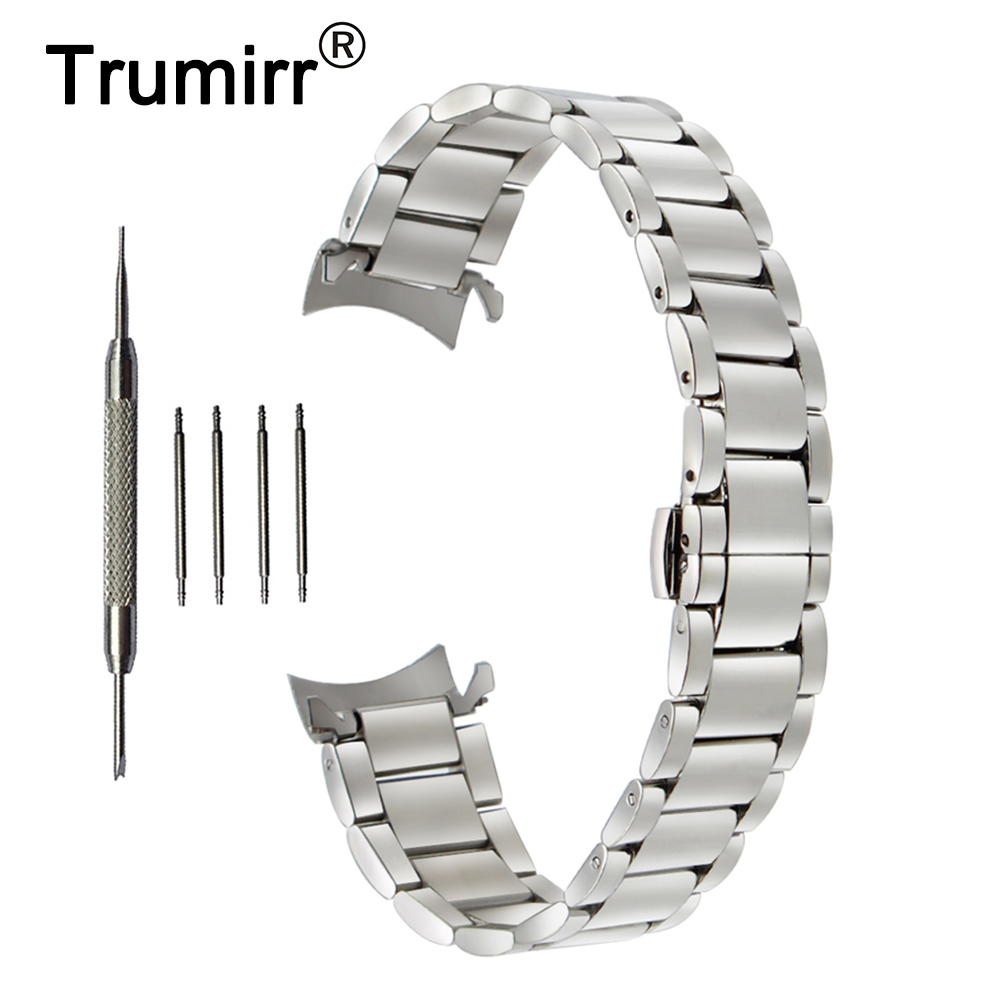 18mm <font><b>20mm</b></font> 22mm Stainless Steel <font><b>Watchband</b></font> for <font><b>Seiko</b></font> Curved End Strap Butterfly Buckle Belt Wrist Bracelet Black Gold Silver image