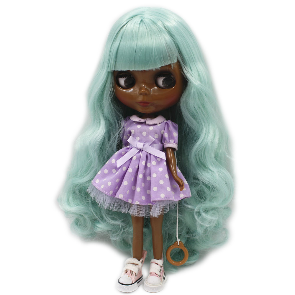 fortune days factory blyth doll super black skin tone darkest skin mint green hair 280BL4006 normal body 1/6 30cm mint green casual sleeveless hooded top