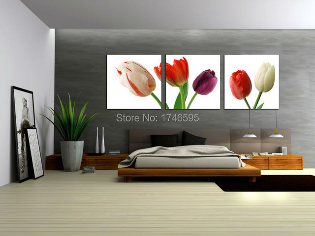 Big 3pieces Living Room Bedroom Home Wall Art Decor Abstract Wall Art  Picture Print Colorful Tulip