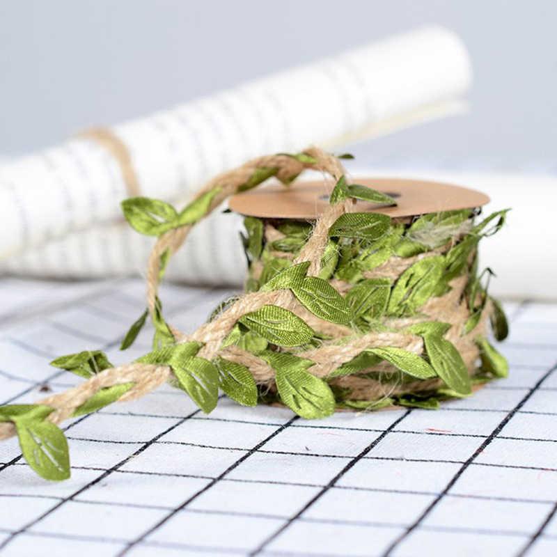 5 мм * 5 м Моделирование зеленых листьев ткачество пеньковая веревка DIY Свадебный День рождения Свадебные украшения ротанга Подарочный букет цветные нитки 5 мм