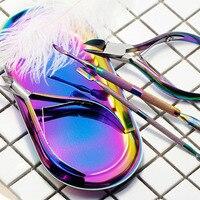 PVADCOL 1set Rainbow Nail Cuticle Pusher Nipper Scissor Dead Skin Remover Storage Box Manicure Nail Art
