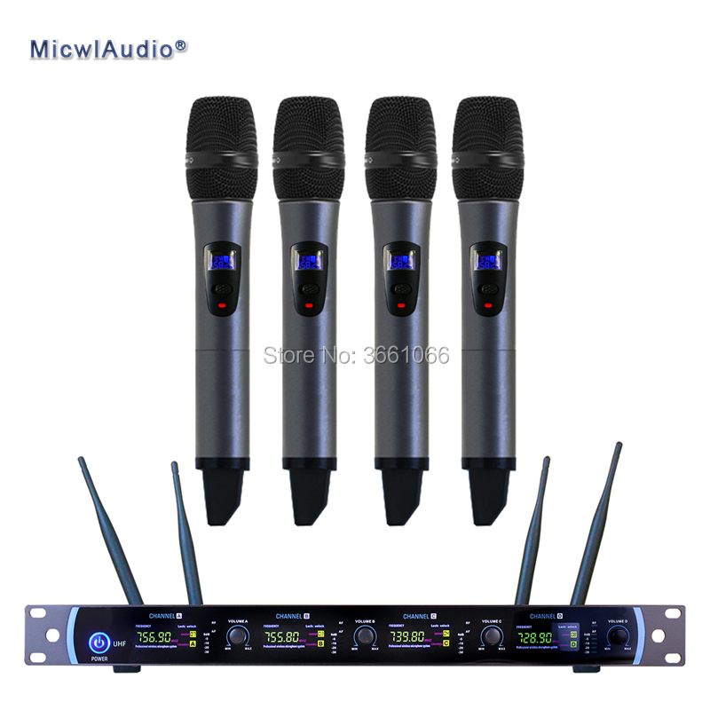 Professional UHF 4 Channel Digital Wireless Microphone System With 4 Handheld Microphone JP4416H Micwl.Audio high end uhf 8x50 channel goose neck desk wireless conference microphones system for meeting room