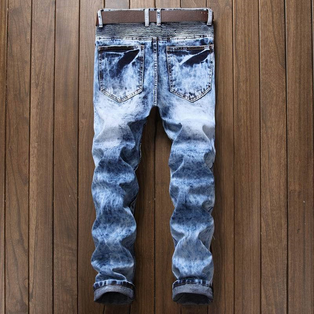 Newsosoo Men's Pleated Biker Jeans Pants Slim Fit Brand Designer Motocycle Denim Trousers For Male Straight Washed Multi Zipper 4
