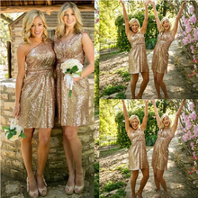 2016 New Arrival Sequins Bling bling Short Bridesmaid Dress V-neck One Shoulder Backless Ruched Summer Cheap Maid of the Honor