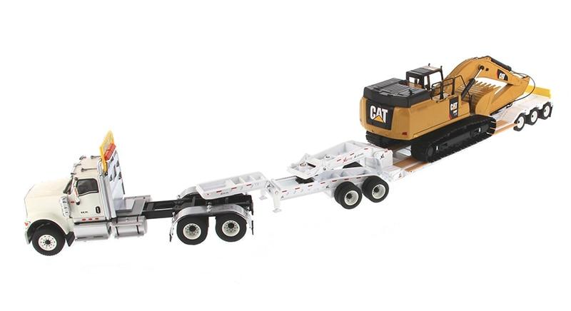 DM-85600 международный HX520 тандем день кабина трактор в белом с XL 120 HDG Lowboy трейлер и Cat 349F L XE экскаватор