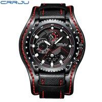 CRRJU модные хронограф для мужчин спортивные часы водостойкий аналоговый Дата кварцевые часы мужские черный кожаный ремешок наручные часы