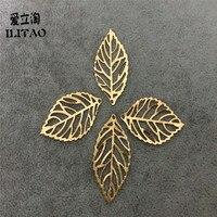 ILITAO 100 adet/grup DIY Alaşım Altın Deldi yapraklar kolye için çekicilik bilezik ve kolye takı bulgular ve aksesuarları