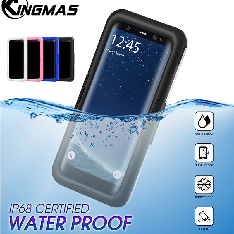 KINGMAS Waterproof Swimming Diving Case For Samsung Galaxy S9 plus Water Proof Dive Phone Bag Cases For Samsung S9 S9plus Cover
