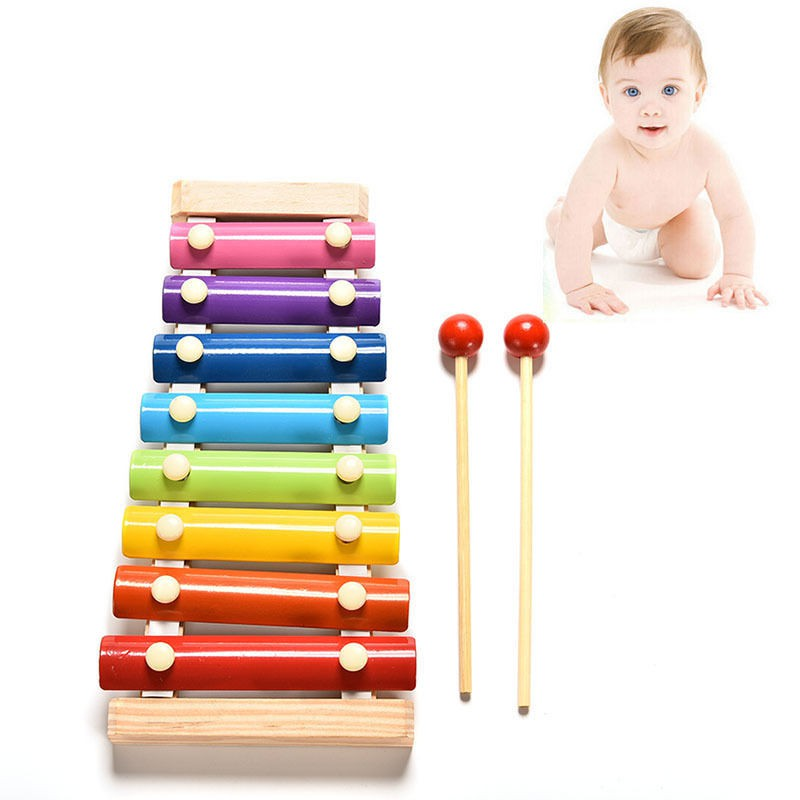 Wooden Children Alpinia Oxyphylla Eight Scale Hand Knock On The Piano Beat Xylophone Preschool Education Music Instruments in Toy Musical Instrument from Toys Hobbies