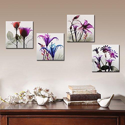 4 stücke Flicking Blumen Bilder Fotodruck auf Leinwand Modulare - Wohnkultur - Foto 5