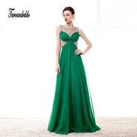 Sheer סקופ גבישים כבדים ואגלי מחוך ירוק שיפון אלגנטי שמלה לנשף שמלת ערב longos vestidos דה הפסטה ארוך
