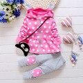 Дети Девочка Одежда Устанавливает Мода Высокое Качество Dot Печати С Капюшоном Набор для Девочки Наряд Малыша Малолетними Детьми Костюм 0 2 3 4 Лет