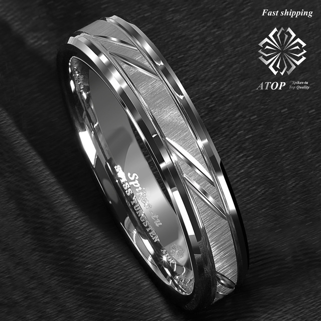 6mm Tungsten Carbide Ring Silver leaf New Brushed Style Bridal ATOP Jewelry