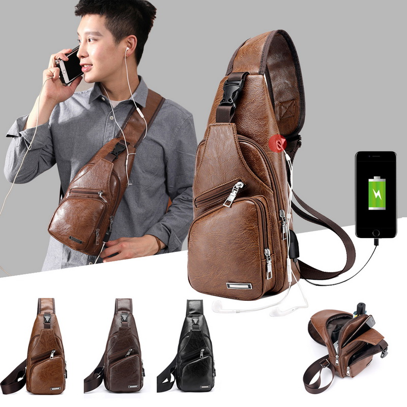 SHUJIN Chest-Bags Headphone-Plug Shoulder-Bag Diagonal Package Crossbody Men's Usb-Charging
