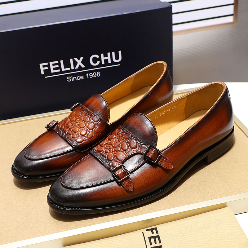 Retro Style High Quality Cow Leather Loafers Shoes Men Buckle Strap Flats Monk Strap Male Formal Shoes Handmade Genuine Leather