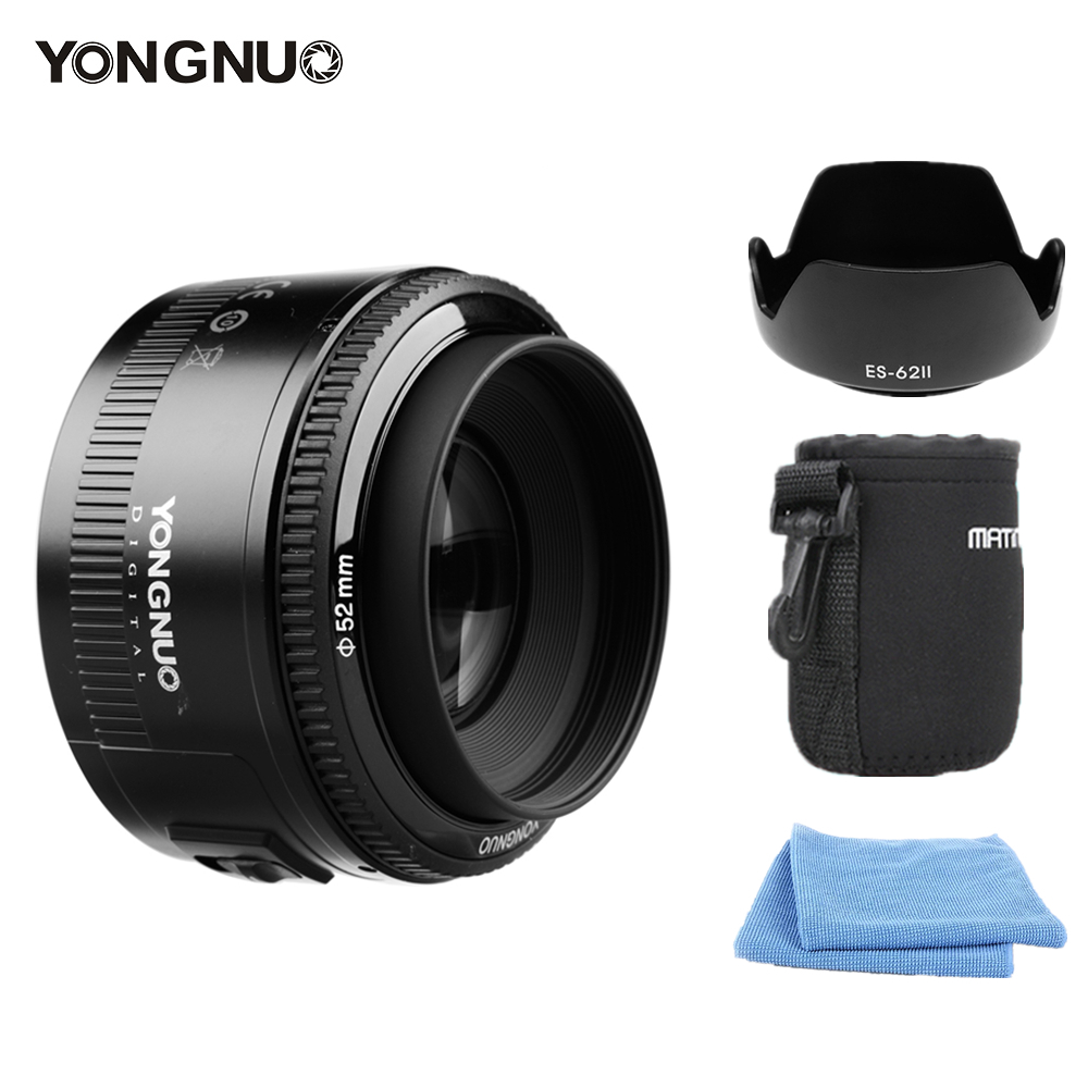 YONGNUO YN50mm F1.8 Lens Large Aperture Auto Focus Lens For Canon EF Mount EOS Camera Free lens bag camera auto focus lens adapter ii for canon eos ef ef s to sony full frame nex a7 a7r