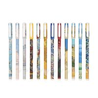 0.35 mm Gel Ink Pens Van Gogh Series Paintings Creative Students Gel Ink Pens Black Refill with Color Pen box