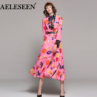 High Quality Runway Designer Dress 2018 Newest Spring Summer Fashion Turtleneck Long Sleeve Colorful Flower Print