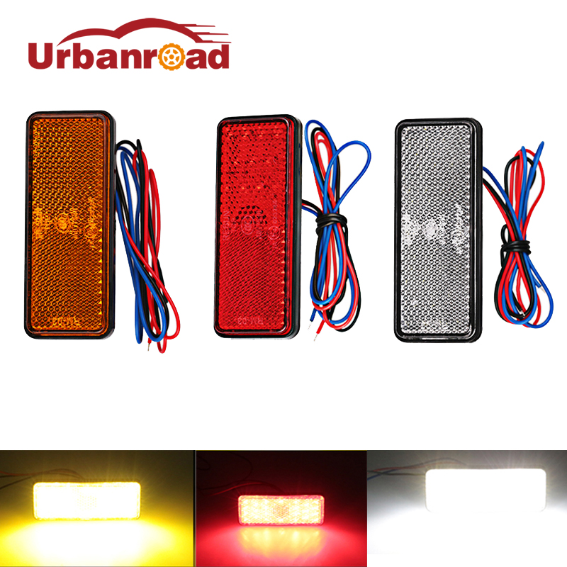Urbanroad Universal Red 12v Motorcycle Rear Tail Brake Stop Light Truck Side Marker Led Reflector Motorcycle Truck Trailer Car