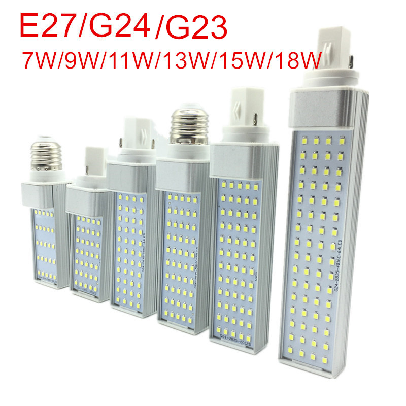 G23/E27/G24 LED Horizontal Bulb 7W 9W 11W 13W 15W 18W LED indoor Spotlight AC85-265V Warm White/Cold White LED Bulb lamps lights hzled g24 13w 1600lm 3000k 65 smd 2835 led warm white light bulb ac 85 265v
